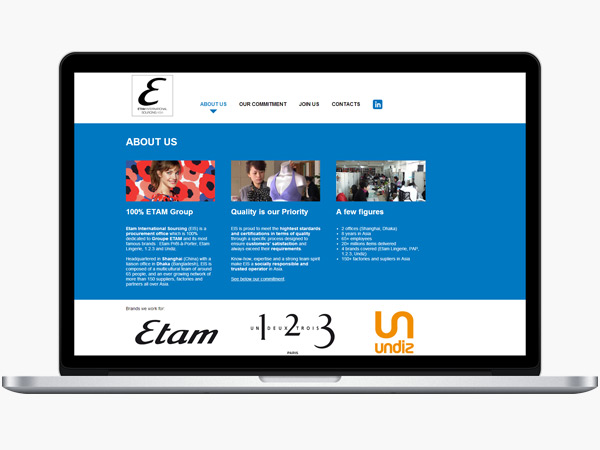 Etam International Sourcing Website